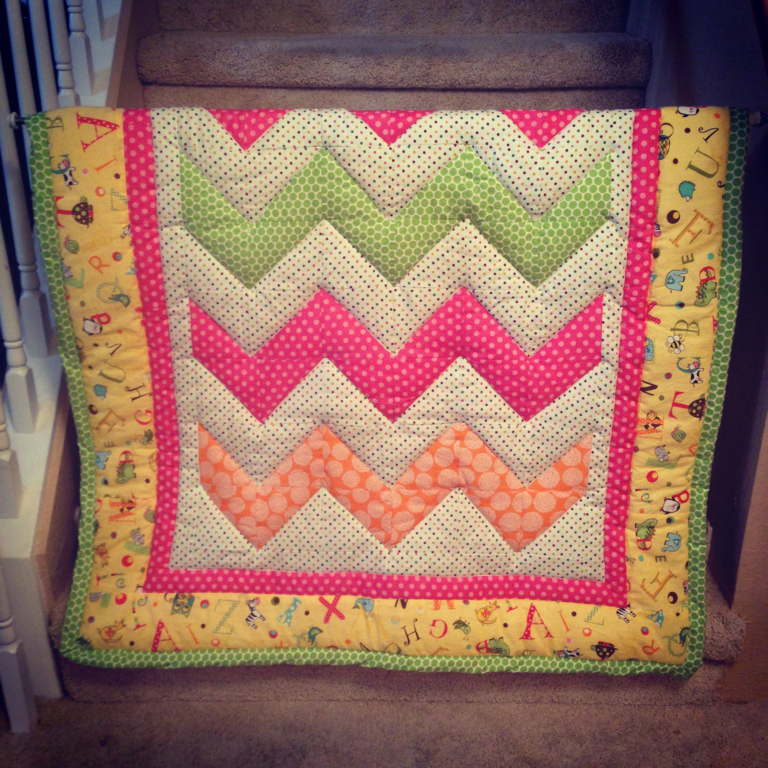 Baby Girl Quilt: Chevron Design Grace For Elle